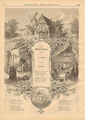 Poem, Verse, Miller's Wife's Neighbor, Vintage 1873 German Antique Art Print