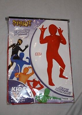 New Kids Youth Unisex Spirit Super Skins Skin Suit Solid Red Costume Size M 8-10