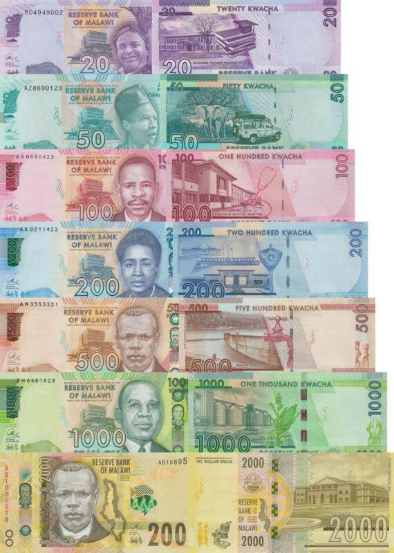 Malawi 7 Note Set: 20 to 2000 Kwacha (2014-2016) p63, p64, p 69, p65-68 UNC