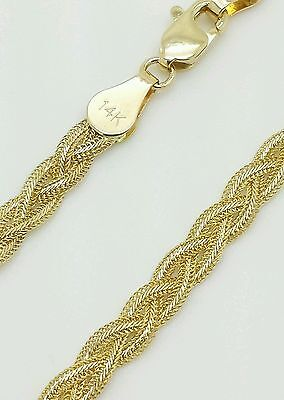 14k Solid Yellow Gold Braided Wheat Fox Chain Anklet 10""