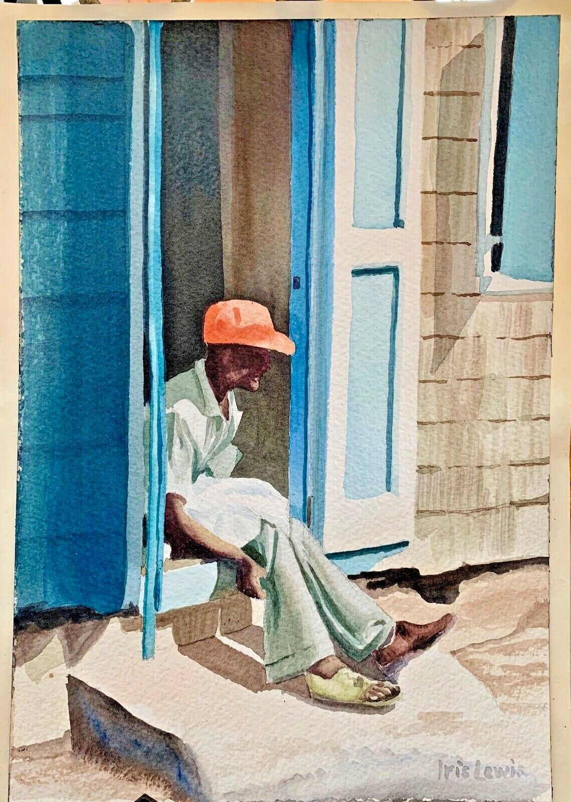 Watercolor Painting, Anguilla , Artist Iris Lewis - 1980 s - $15.00