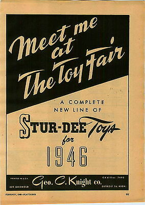 1946 Paper Ad Stur Dee Toy Detroit Athletic Glider Click Gun Madison Hockey Game