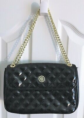 NEW Anne Klein Quilted Black Patent Leather Chain Strap Purse Handbag - NWOT