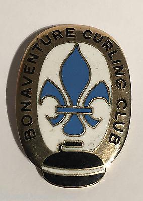 Vintage Bonaventure Curling Club Pin Pinback 1970's  Montreal Canada