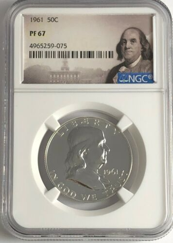1961 NGC PF67 PROOF SILVER FRANKLIN HALF DOLLAR WHITE COINS 50c FRANKLIN LABEL