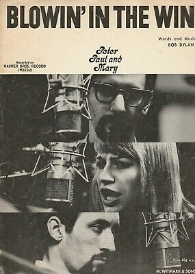 Blowin In the Wind Vintage Sheet Music Peter Paul & Mary Bob (Blowin In The Wind Piano Sheet Music)