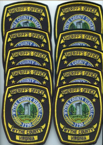 WYTHE COUNTY VIRGINIA Trade Stock 10 Police Patches SHERIFF POLICE PATCH