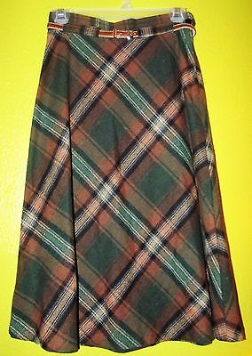 Vintage 70's A-Line Midi Skirt PLAID Wool Belted Green Brown Sz XS