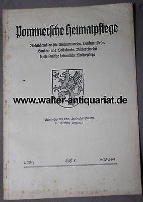 Pommern Pommersche Heimatpflege Heft 3/1931 Wappen Denkmalpflege Stettin...