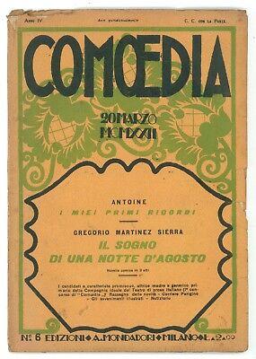 COMOEDIA NUMERO 6 1922 GREGORIO MARTINEZ SIERRA IL SOGNO DI UNA NOTTE D'AGOSTO