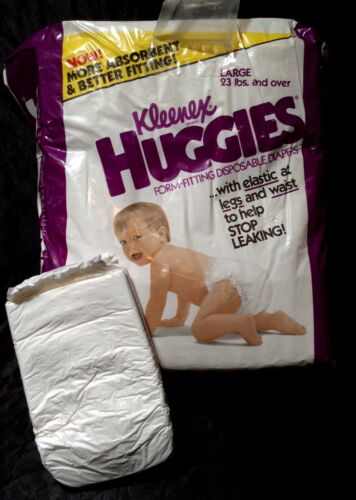 Vintage Huggies Kleenex Brand Diapers Sz Large 23lbs & Over from 1982