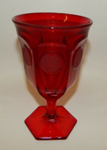 """Fostoria Coin Glass Ruby Red Water Goblet 6-1/4"""""""