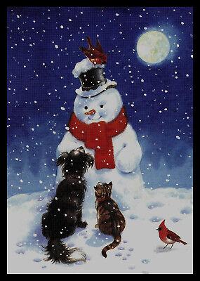 979-JPM BIRD CARDINAL CAT DOG KITTEN PUPPY SNOWMAN Christmas Greeting Card NEW