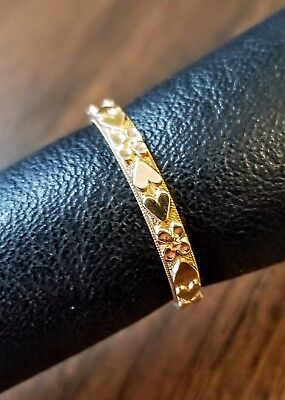 (Solid 14K Yellow Gold 3mm Men Women Wedding Rings w/Engraved Hearts/Beaded Edge)