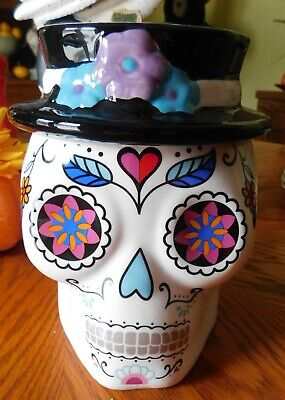 Ceramic Day of the Dead Sugar Skull Canister - Cookie Jar - Halloween