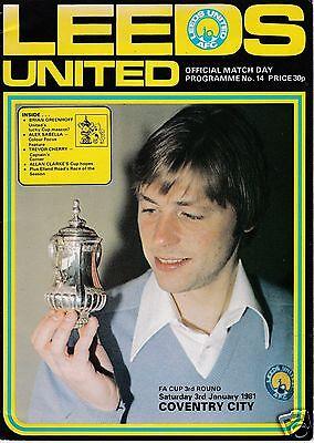 LEEDS  UTD V COVENTRY CITY  FA CUP  3/1/81