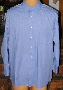 Van heusen shirt mens blue pin stripes long sleeves shirt for 17 33 shirt size
