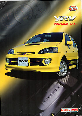 Daihatsu YRV Turbo 130 2003-04 UK Market Foldout Sales Brochure