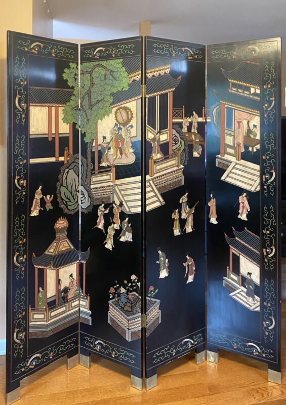 Oriental 4 Panel Black Lacquer Screen Room Divider