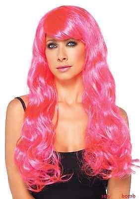 SEXY parrucca neon ROSA capelli lunghi ondulati TRAVESTIMENTO fashion GLAMOUR !