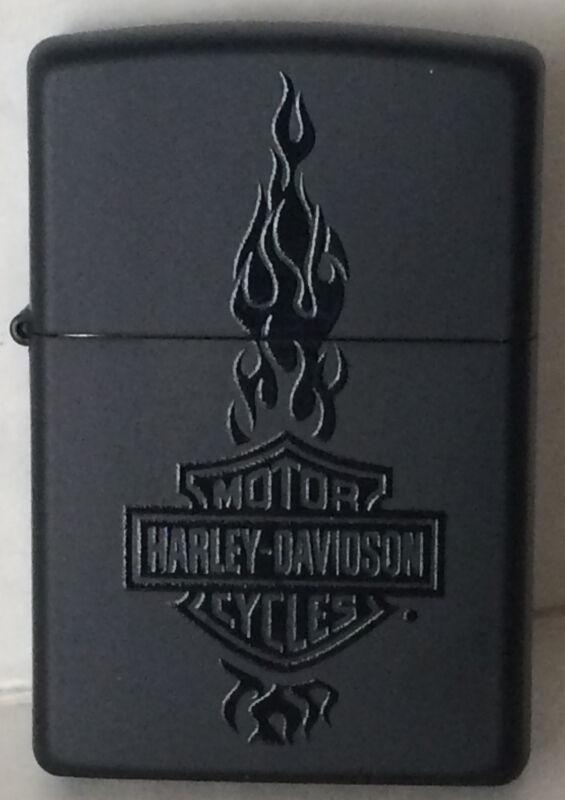 Zippo Harley Davidson Black Matte Lighter With Harley Logo & Flames, 46821, NIB