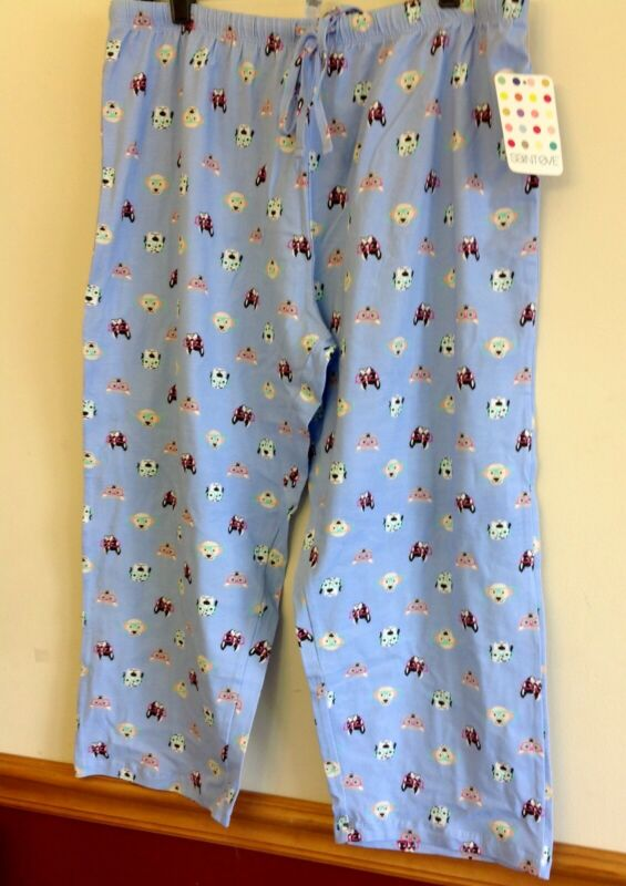 Boston Terrier In Glasses Pajama Bottom Size Large And Medium