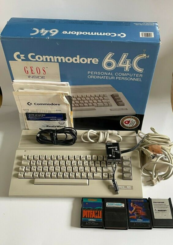 COMMODORE 64 Computer Keyboard Untested with Chord Box, Manual, Game Cartridges