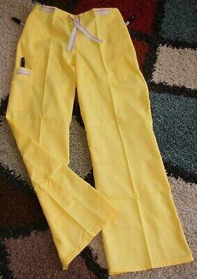 White Swan Drawstring Cargo Scrub Pants W/ Side Pockets Yellow Size Small   Drawstring Cargo Scrub Pants