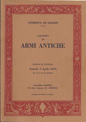 SOTHEBY'S ANTIQUE ARMS ARMOUR Swords Firearms Pistols Duggers Auction Catalog 74