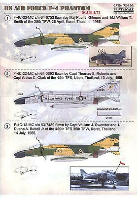 Print Scale Decals 1/72 MCDONNELL DOUGLAS F-4 PHANTOM II U.S. Air Force
