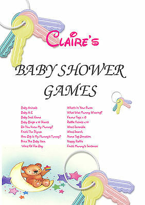 1 Personalised Baby Shower Party Games for 10 guests | Favour Tags | Pink Keys - Baby Shower Party Favors For Guests