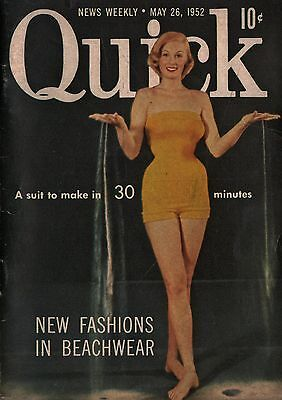 Quick News Weekly Magazine 1952 May 26 News Entertainment Photos   Beachwear