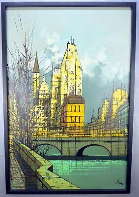 Vtg Green Abstract Oil Painting Modernist Cityscape Mid Century Modern Signed
