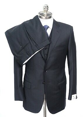 NWT PAL ZILERI Charcoal Gray Loro Piana Super 130's Wool 3Pc Suit 46 8R 36 R