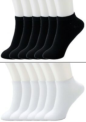 New Lot 6-12 Pairs Mens Womens Ankle Socks Cotton Low Cut Casual Size 9-11 10-13 ()