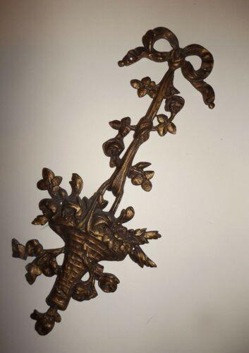 "Antique / Vintage FRENCH Bow Basket of Flowers Bronze Pediment Hardware 11""   #1"