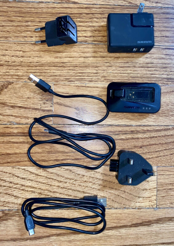 SRAM eTap Battery Charger, International Adaptors & Cords, No Battery.