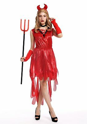 Kostüm Damen Frauen Halloween Karneval Teufelin Dämonin Hexe Hörner Kleid rot S ()