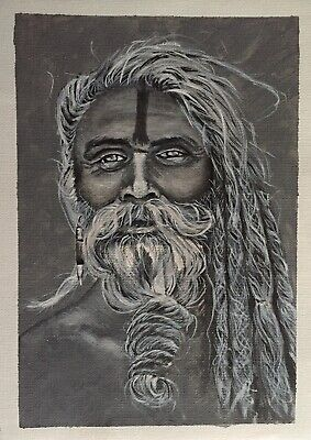 Original Artwork by Sungy Acrylic Canvas Painting Yogi Sadhu Tribal Man Beard