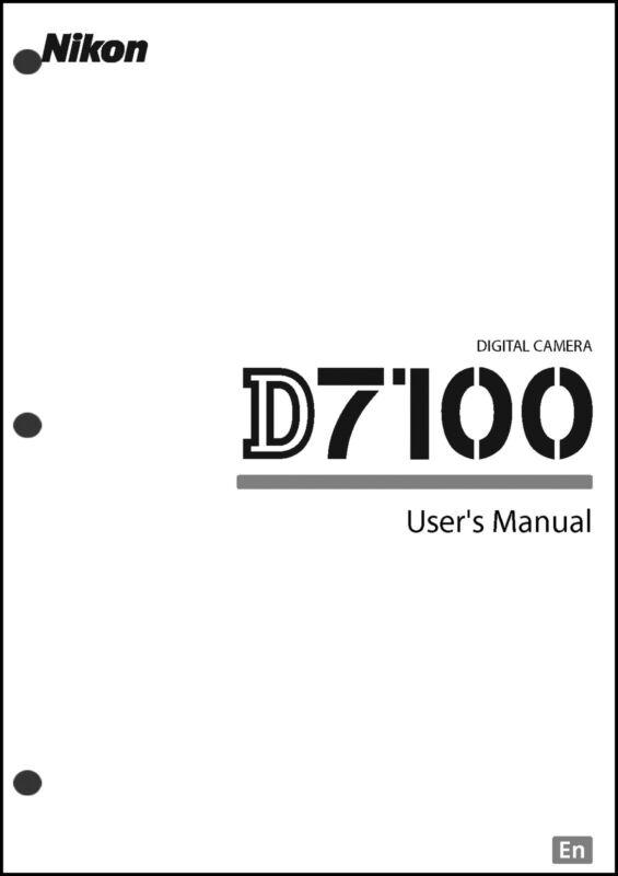 Nikon D7100 User Manual Guide Instruction Operator Manual