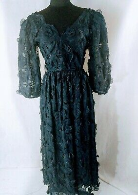 Old Lace Dress Nylon Blend Lace Overlay Floral Midnight Harold Levine