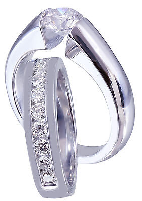 GIA G-VS2 14K WHITE GOLD ROUND CUT DIAMOND ENGAGEMENT RING BAND TENSION 1.20CTW