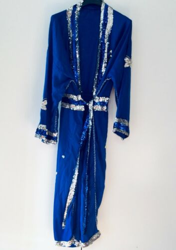 Blue Light Weight Pro Wrestling Entrance Robe With Sequins & Belt - Size L-XL