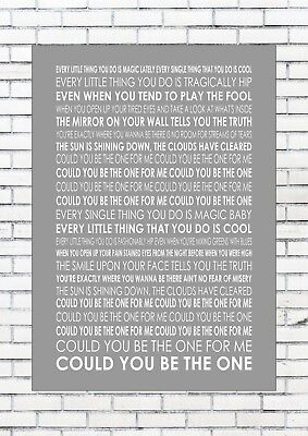 COULD YOU BE THE ONE – STEREOPHONICS Lyrics  Wall Art Print Poster A4