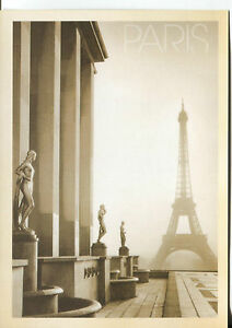 POST CARD OF THE EIFFEL TOWER IN PARIS FRANCE IN THE FOG