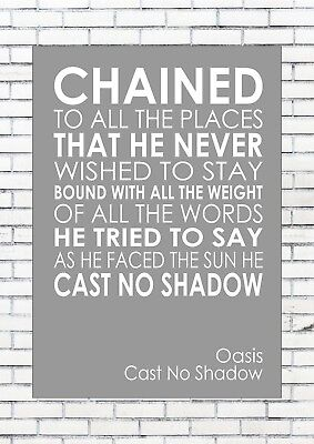 CAST NO SHADOW - OASIS Lyrics  Wall Art Print Poster A4