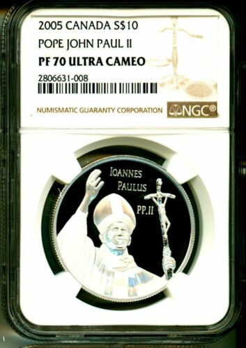 2005 Canada S$10 Pope John Paul II NGC PF70 Ultra Cameo With Mint Box & COA OGP
