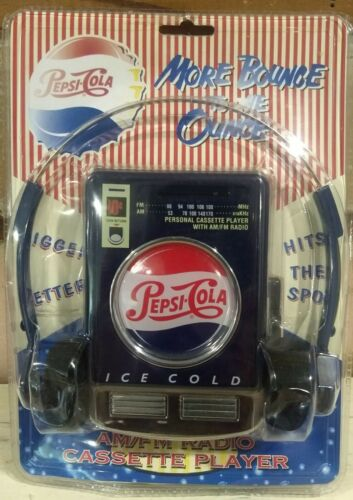 Vintage NOS Pepsi-Cola AM/FM Cassette Player NIP 1997 Headset (I)