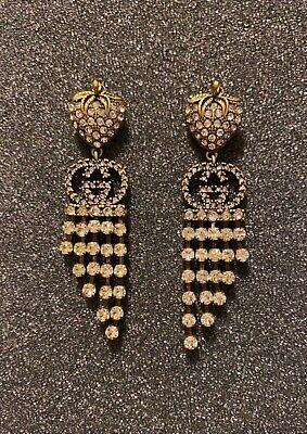 Gucci earrings. Rhinestones in antiqued gold XR 409