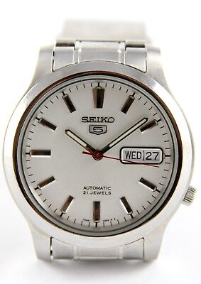 Authentic Seiko 5 Mens Dress Watch Automatic 21 Jewels Stainless Steel 7S26-06F4